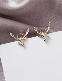 Fashion Gold 925 Silver Pin Metal Studded Stag Horn Earrings