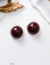 Fashion Wine Red 925 Silver Needle Round Earrings