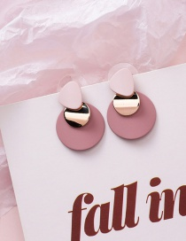 Fashion Pink 925 Silver Needle Irregular Geometric Disc Earrings