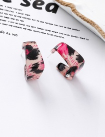 Fashion Red Leopard Acetate Texture Geometric Ear