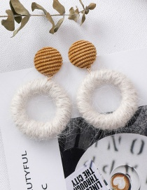Fashion Yellow 925 Silver Needle Ball Circle Earrings