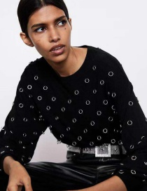Fashion Black Metal-stitched Stitching Sweater