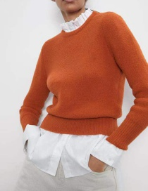 Fashion Orange Long Sleeve Round Neck Sweater