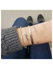 Fashion Gold Alloy Diamond Letter Bracelet Set