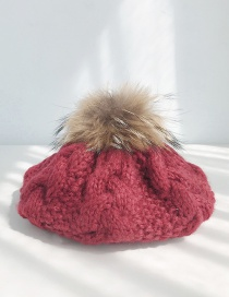 Fashion Real Hair Ball Twist Wine Red Real Hair Ball Hemp Pattern Knitted Wool Cap