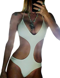 Fashion White Triangle One-piece Swimsuit