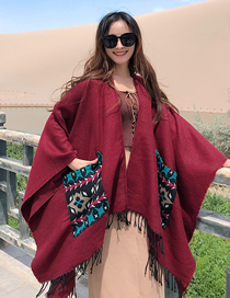 Fashion Red Wine Cashmere-cut Shawl Scarf