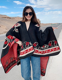Fashion Black Split-fork Cashmere Cloak Shawl
