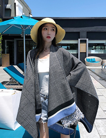 Fashion Blue Plaid Blanket Imitation Cashmere Shawl