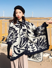 Fashion Graffiti Split-grain Graffiti-like Cashmere Cloak Shawl