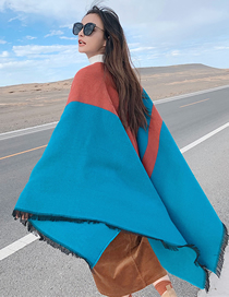 Fashion Water Blue Knitted Cashmere Split Shawl