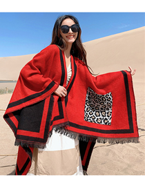 Fashion Red Wine Leopard-print Pocket Woven Cashmere Split Shawl