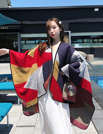 Fashion Red Gray Geometry Geometric Square Slit Shawl