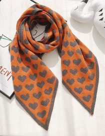 Fashion Sharp Corner Love Orange Double-sided Woolen Corner Knit Love Small Scarf