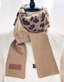 Fashion Khaki Woolen Tops Leopard Top Stitching Woolen Patch Leather Scarf