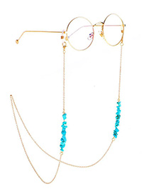 Fashion Gold Chain Natural Turquoise Beads Non-slip Glasses Chain