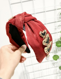 Fashion Red Wine Alloy Fabric Knotted Pearl Love Headband
