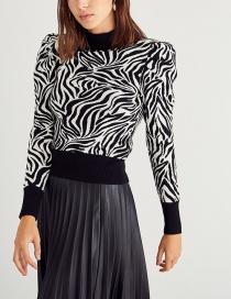 Fashion Black Half-high Collar Fluffy Sleeves Sweater Sweater