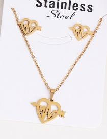 Fashion Love Gold Stainless Steel Ecg Necklace Earring Set