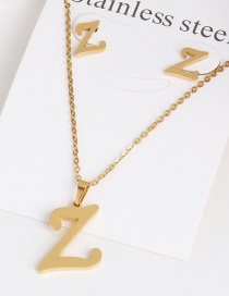 Fashion Z Gold Stainless Steel Letter Necklace Earrings Two-piece