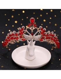 Fashion Red Swan Love Crystal Crown Headband