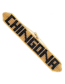 Fashion Gold + Black Letter Chingonrfeministrmgb Rice Beads Woven Bracelet