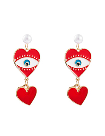 Fashion Red Gold-plated Love Pearl Earrings