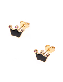 Fashion Black Drip Oil Crown Diamond Stud Earrings