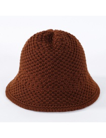 Fashion Caramel Colour Solid Color Knit Wool Fisherman Hat