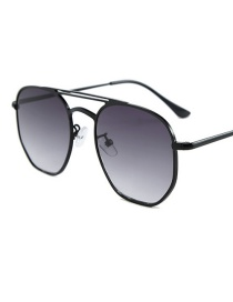 Fashion Black Frame Double Gray Double Beam Sunglasses