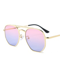 Fashion Silver Frame Pink Double Beam Sunglasses