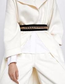 Fashion Black Alloy Pu Chain Belt