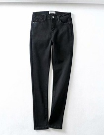 Fashion Black Washed Heart Pocket Stretch Jeans
