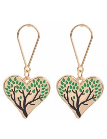 Fashion Green Alloy Water Drops Love Drops Oil Tree Earrings