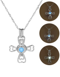 Fashion Silver Double Love Cross Hollow Night Bead Necklace