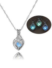 Fashion Silver Small Love Hollow Night Bead Necklace