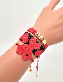Fashion Suit Red Rice Beads Woven Love Rivet Bracelet