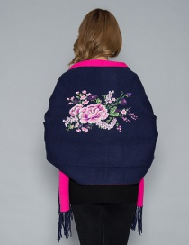 Fashion Navy Blue Rose Cashmere Double-sided Embroidery Can Be Worn With Sleeves Tassel Scarf Shawl Cloak