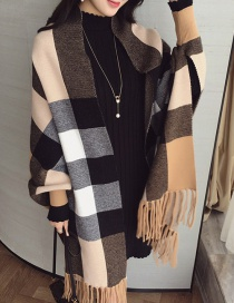 Fashion Khaki Winter Tassel Plaid Cashmere Scarf Cloak Shawl