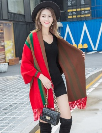 Fashion Red Fringed Cloak With Sleeves Shawl Coat