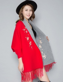 Fashion Red Cashmere Shawl Cloak Coat