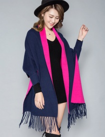 Fashion Navy Blue Rose Double-faced Velvet Color Matching Tassel Cloak Shawl Scarf Dual-use