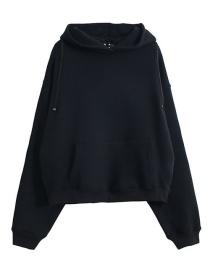 Fashion Black Double Zipper Hoodie
