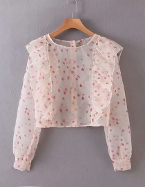 Fashion Pink Flower Print Ruffled Perspective Shirt