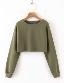 Fashion Army Green Round Neck Sweater