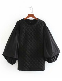 Fashion Black Poplin Sleeves Quilted Sweater