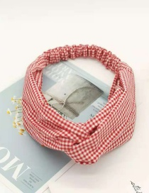 Fashion Wine Red Small Plaid Knotted Hair Band Wide-brimmed Small Plaid Fabric Headband