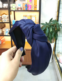 Fashion Navy Wide-brimmed Fabric Knotted Headband