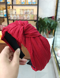 Fashion Wine Red Crease Knotted Headband Wide-breasted Pleated Knotted Headband