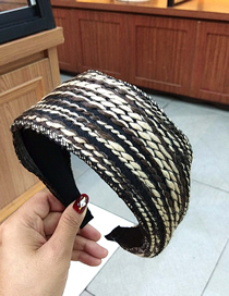 Fashion 1# Color Strip Wool Slab Headband Wide-brimmed Flat Yarn Color Strip Knitting Headband